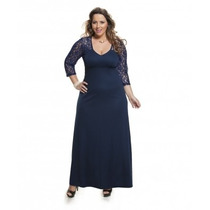 Moda Plus Size - Vestido Azul Marinho