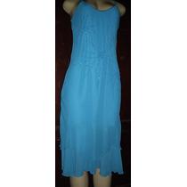 Vestido Festa Azul Turquesa Crepe De Seda Tamanho M