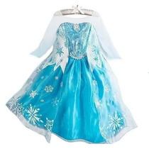 Vestido Fantasia Infantil Criança Filme Frozen Elsa C/ Coroa