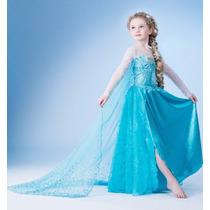Fantasia Vestido Frozen Elsa Luxo + Trança Pronta Entrega !!