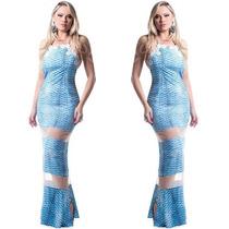 Vestido Longo Estampado Azul Tule Bojo Renda Ellen Rocche