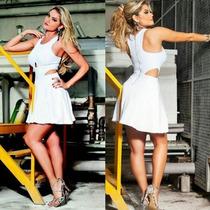 Vestido Branco Curto Saia Rodada Paetê Bojo Ellen Rocche