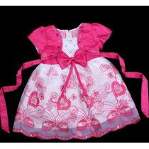 Vestido Infantil Festa Bordado Corações E Paetês Com Bolero