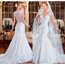 Vestido De Noiva Manga Curta Importado Maravilhoso 029