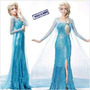 Fantasia Vestido Princesa Elsa Ana Frozen Adulto Frete Gráts