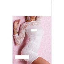Vestido Noite Spandex Manga Renda Branco Calcinha Fio