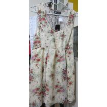 Vestido Estampa Romantica Marfim Renda Internationale Vt095
