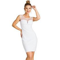Vestido Branco Com Lindo Decote Tule Transparente