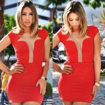 Vestido Vermelho Glam Transparência Tule Decote