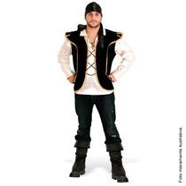 Fantasia Pirata Masculino Camisa/colete Sul Tam. P (38 A 40)