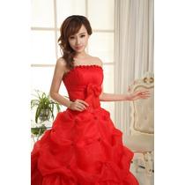 Vestido Noiva Debutante Vermelho Princesa Lindo Pronta Entr
