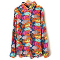Camisa Chiffon Estampada Peixe Seda Musseline Chifon Fashion