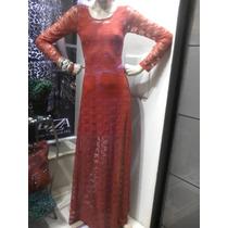Vestido De Renda Longo Mangas Compridas E Transparencia