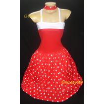 Vestido De Bolinhas - Fantasia Adulto Anos 60 - Carnaval