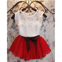 Vestido Infantil Menina Branco Vermelho Aniversário Festa