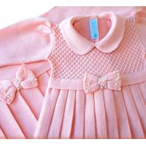 Saída Maternidade Vestido Casinha De Abelha Laço Rosê