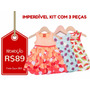 Kyly - Kit 3 Vestidos Infantis Tam P E M Frete Único - R$10