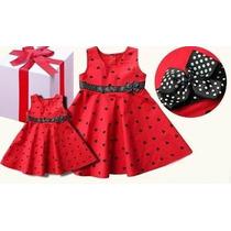 Vestido Infantil Vermelho Coração Laço Menina Pronta Entrega
