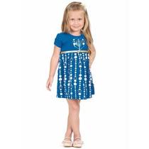 Roupa Infantil Menina - Vestido Azul - Crianças 1 A 10 Anos