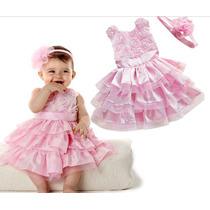 Pronta Entrega Vestido Infantil Bebê Batizado Aniversário