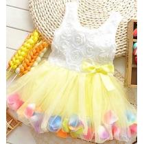 Vestido Petalas Para Bebes 12m Várias Cores Pronta Entrega