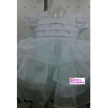 Vestido Infantil Batizado Nelu Voil Luxo - Tam. P / G