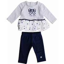 Vestido Bebê Menina Calça Leggin Manga Bordado Paetê 6 A 9 M