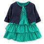 Vestido Verde Poá Com Cardigan - Carters