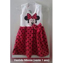Vestido Infantil Malha Minnie - 1 Ano