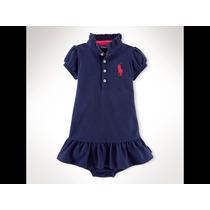 Vestido Baby Girl Ralph Lauren Marinho/roxo 03 Meses