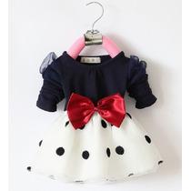 Vestido Infantil Bebe Manga Longa Bolinhas - Frete Grátis