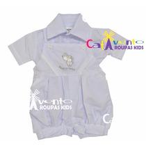 Jardineira Bebê Infantil Para Batizado Tamanhos 3 A 9 Meses