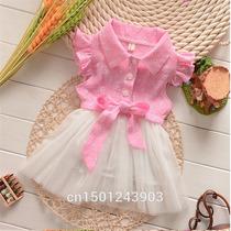 Vestido Com Gola E Saia De Tule - Bebe