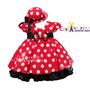 Vestido De Festa Infantil Minnie Vermelho/preto Com Chapéu