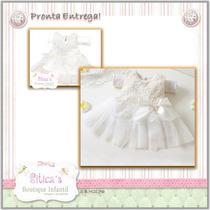 Siticas Vestido Renda Batizado Com Faixa* Flor Bebê Menina