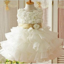 Vestido Infantil Festa Batizado Bebe Branco