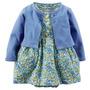 Vestido Florido Com Cardigan Azul - Carters