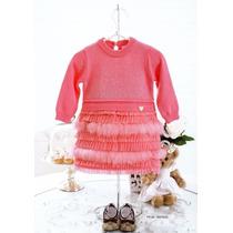 Vestido Tricot Bebê C/ Cascata Em Tule E Plumas- Pituchinhus