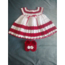Vestido E Sandália Para Bebê Em Crochê Tam 3 A 6 Meses