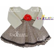 Vestido Bebê Estampa De Oncinha Com Bolero E Faixa De Cabelo