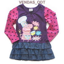 Vestido Infantil Peppa Pig Pepa Menina Tamanho 5 A 6 Anos