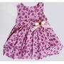 Vestido Bebe Infantil Morango Estampado Rosa Loja Da Fefinha