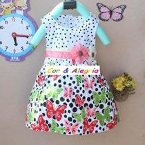 Vestido De Poa Com Borboletas Pronta Entrega Para Bebê