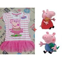 Vestido Peppa + Pelucia Peppa Pig + George - Pronta Entrega