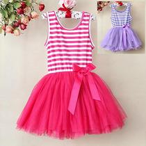 Vestido Infantil Listrado De Tutu Lilás Ou Rosa Pink