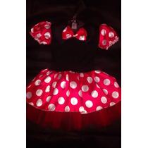Fantasia Vestido Minnie Infantil Tutu Com Tiara Rosa Vermelh