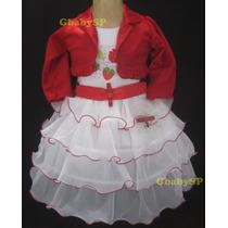 Vestido Fantasia De Festa Infantil Moranguinho Com Bolero