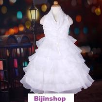 Vestido Infantil Festa Frente Unica Lilas Ou Branco Off Whit
