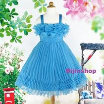 Vestido Infantil Festa/princesa/daminha Azul Tam 12