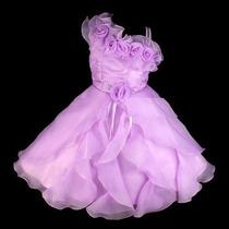 Vestido Infantil Festa/princesa/daminha Azul, Pink, Branco